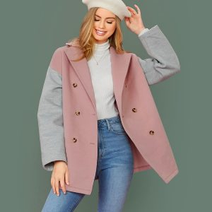 Notch Collar Zweireiher Colorblock Coat
